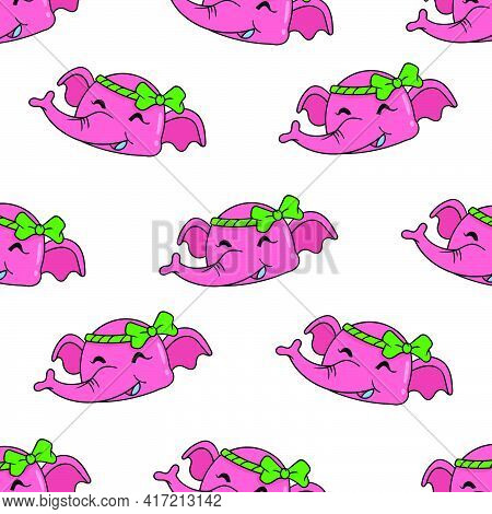 Smile Female Elephant Seamless Pattern Textile Print. Great For Summer Vintage Fabric, Scrapbooking,