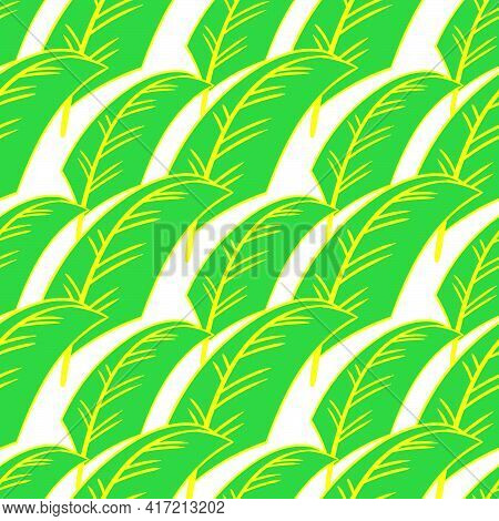 Banana Leaves Seamless Pattern Textile Print. Great For Summer Vintage Fabric, Scrapbooking, Wallpap