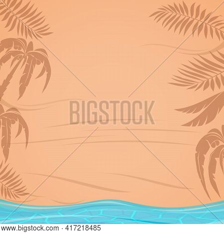 Shadows Of Tropical Palm Leaves On The Beach. Sunny Summer Design. Vector Illustration