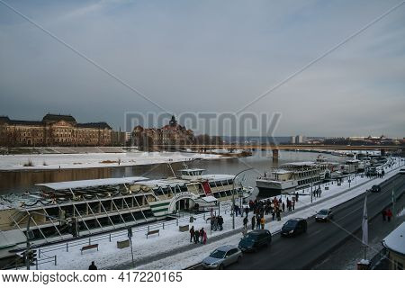 Dresden, Germany - December 8, 2012: Panorama Of The Terrassenufer Of Dresden, In Winter, At Sunset.