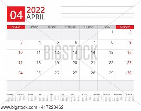 April 2022 Year, Calendar Planner 2022 And Set Of 12 Months, Week Start On Sunday. Desk Calendar 202