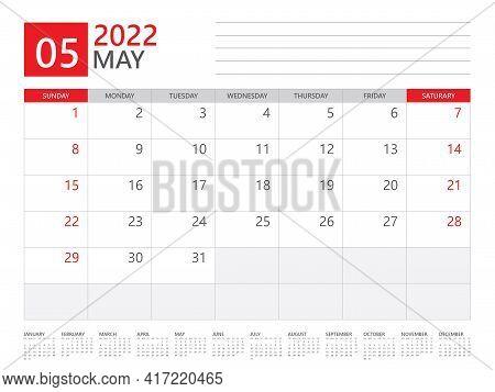 May 2022 Year, Calendar Planner 2022 And Set Of 12 Months, Week Start On Sunday. Desk Calendar 2022
