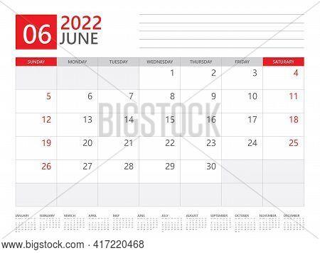 June 2022 Year, Calendar Planner 2022 And Set Of 12 Months, Week Start On Sunday. Desk Calendar 2022