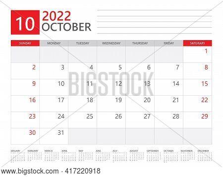 October 2022 Year, Calendar Planner 2022 And Set Of 12 Months, Week Start On Sunday. Desk Calendar 2