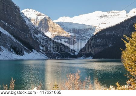 Winter Sunrise Over Scenic Lake Louise In Banff National Park, Alberta Canada