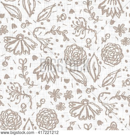 Seamless Minimalist Doodle Flower Pattern Background. Calm Two Tone Color Wallpaper. Simple Modern S