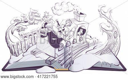 Russian Guy Emelya On Brick Stove Oven Folk Fairy Tale. Open Book Illustration Page