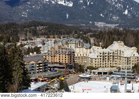 Whistler, British Columbia, Canada - March 10, 2021: Chalets And Vacation Homes In A Village At A Fa