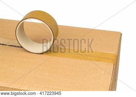 Packaging Of Postal Items With Adhesive Tape. Universal Packaging Tape.
