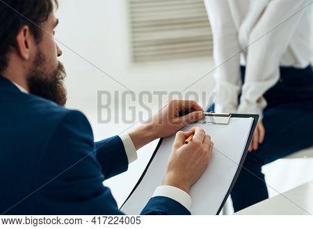 Male Psychologist Next To The Patient Communication Psychotherapist Consultation Problem