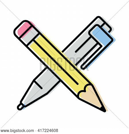Pen And Pencil. Science And Education. Color Vector Icon In Flat Style