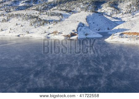 fog over mountain lake - Horsetooth Reservoir near Fort Collins, Colorado at early winter