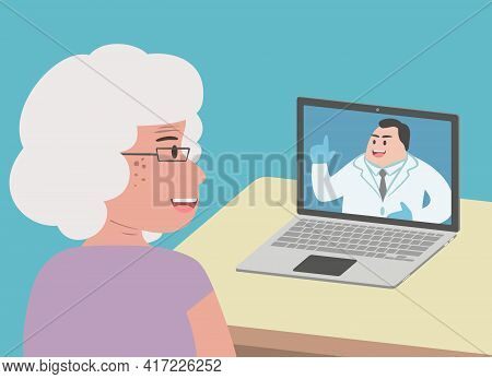 Retired Senior Elderly Woman Talking To Male Doctor Via Virtual Telemedicine Video Call,online Appoi