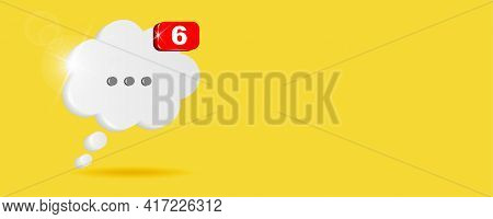 White Chat Cloud With Notifier On Yellow Background. Chat Box For Discussion Content. 3d Vector Illu