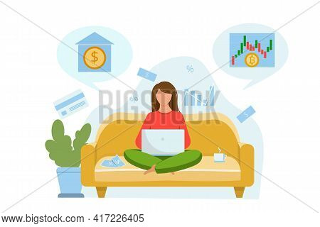 The Girl Sits On The Couch And Thinks About Where To Invest The Money. Invest Money In A Bank Or In