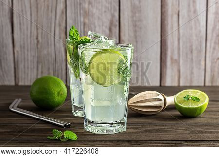 Fresh Lime And Mint Infused Water, Cocktail, Detox Drink, Lemonade. Summer Refreshment Concept.