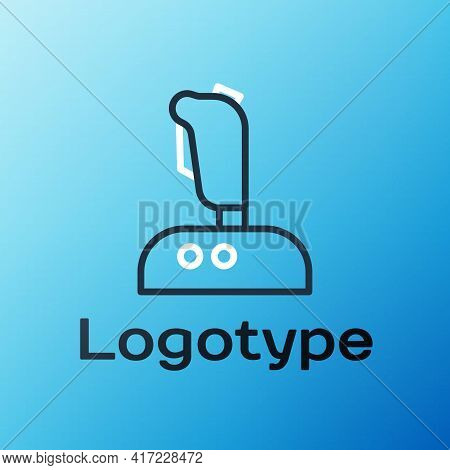 Line Joystick For Arcade Machine Icon Isolated On Blue Background. Joystick Gamepad. Colorful Outlin
