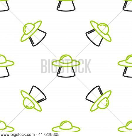 Line Ufo Flying Spaceship Icon Isolated Seamless Pattern On White Background. Flying Saucer. Alien S