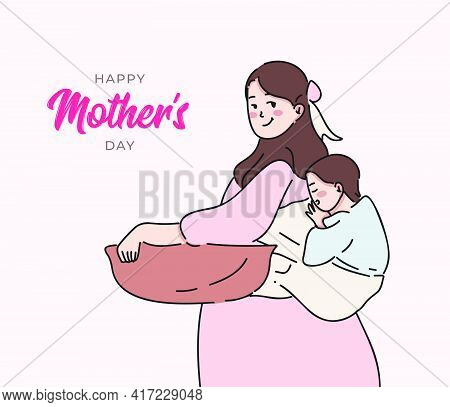 Pregnant Mother Holding Her Child. Mother's Day Concept Hand Drawn Vector Illustration
