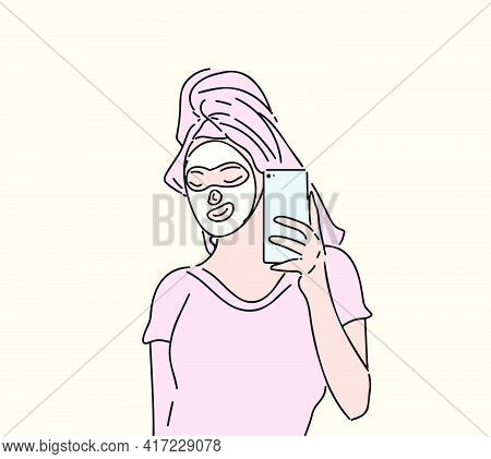 Woman With A Cosmetic Face Mask Taking A Selfie Using Her Phone. Beauty Concept Vector Hand Drawn Il