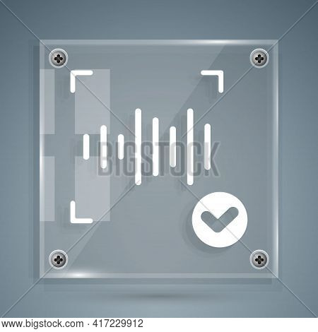 White Voice Recognition Icon Isolated On Grey Background. Voice Biometric Access Authentication For