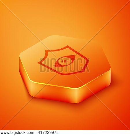 Isometric Shield Eye Scan Icon Isolated On Orange Background. Scanning Eye. Security Check Symbol. C