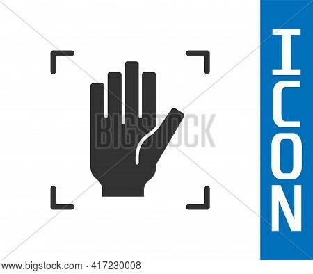 Grey Palm Print Recognition Icon Isolated On White Background. Biometric Hand Scan. Fingerprint Iden