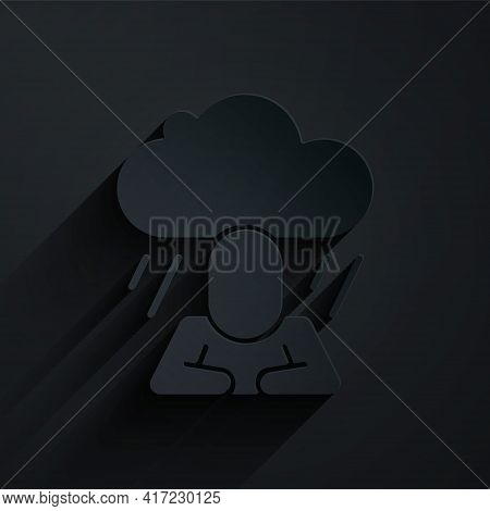 Paper Cut Depression And Frustration Icon Isolated On Black Background. Man In Depressive State Of M