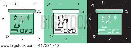 Set Military Ammunition Box With Some Ammo Bullets Icon Isolated On White And Green, Black Backgroun
