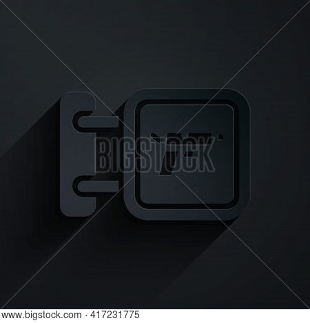 Paper Cut Hunting Shop With Rifle And Gun Weapon Icon Isolated On Black Background. Supermarket Or S
