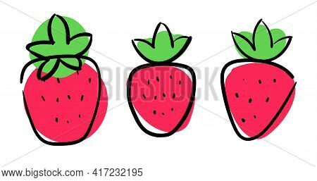 Primitive Cute Strawberries Outline Style, Simple Flat Vector Illustration