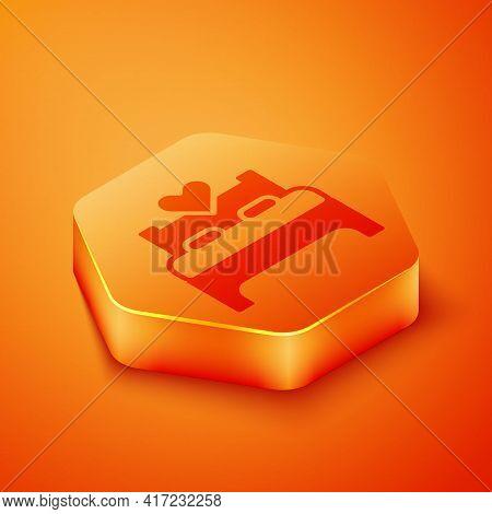 Isometric Bedroom Icon Isolated On Orange Background. Wedding, Love, Marriage Symbol. Bedroom Creati