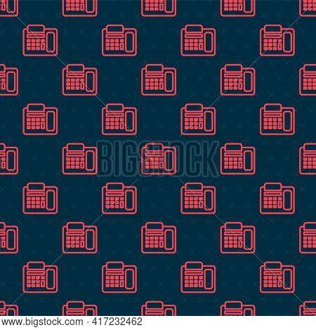 Red Line Telephone Icon Isolated Seamless Pattern On Black Background. Landline Phone. Vector Illust