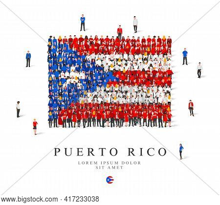 A Large Group Of People Are Standing In Blue, White And Red Robes, Symbolizing The Flag Of Puerto Ri