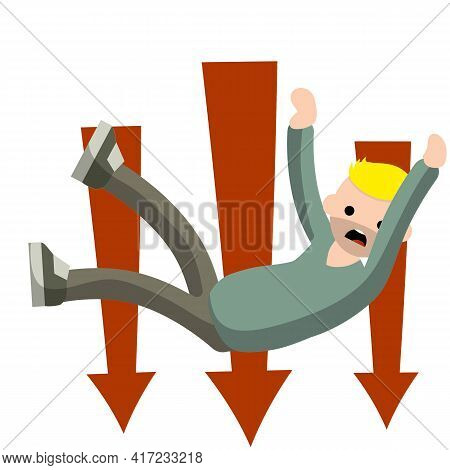 Man Fall Down. Red Arrow. Frightened Guy In Distress. Flying And Crashing From Height. Cartoon Flat