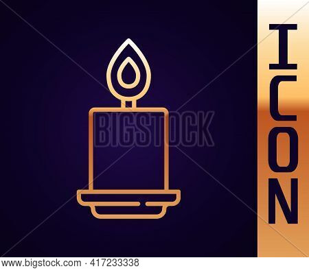 Gold Line Burning Candle Icon Isolated On Black Background. Cylindrical Aromatic Candle Stick With B