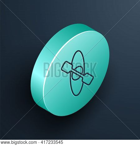 Isometric Line Kayak And Paddle Icon Isolated On Black Background. Kayak And Canoe For Fishing And T