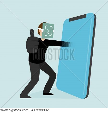 The Thief Hacks The Face Id And Gets Into Phone. Face Id Is Hacked.