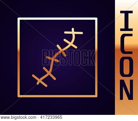 Gold Line Scar With Suture Icon Isolated On Black Background. Vector