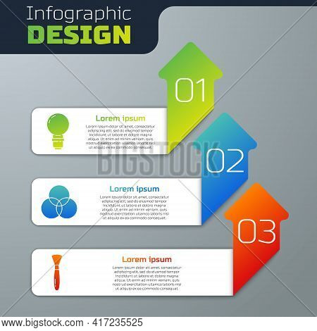 Set Light Bulb, Rgb And Cmyk Color Mixing And Paint Brush. Business Infographic Template. Vector