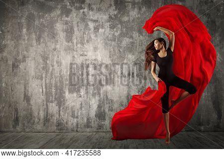 Woman Ballerina Dance With Red Silk Fabric, Modern Sport Ballet Dancer. Fluttering Waving Cloth. Dan
