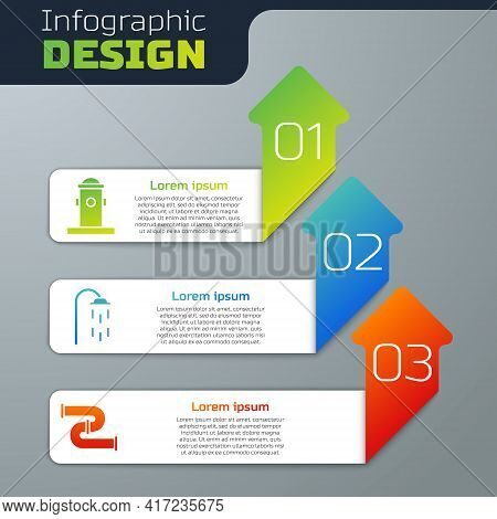 Set Fire Hydrant, Shower And Industry Metallic Pipe. Business Infographic Template. Vector
