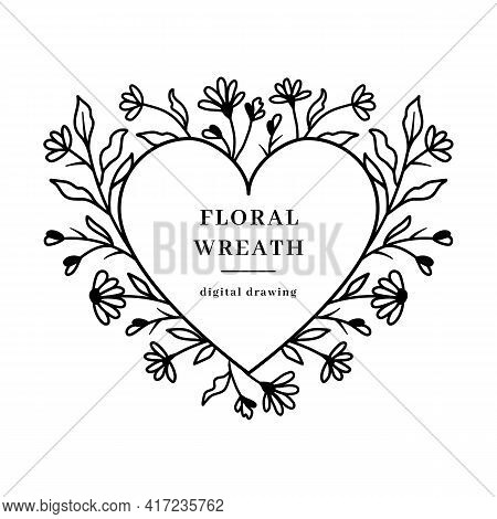 Heart Floral Frame, Wildflowers Floral Wreath, Valentine Flower Heart, Vector Floral Design