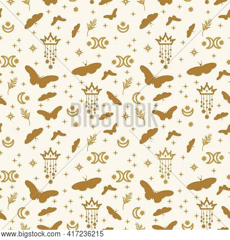 Background Of Golden Butterflies With Stars. A Pattern With Illustrations Of Fluttering Insect Wings