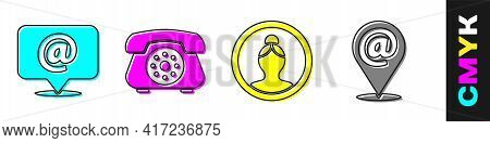Set Mail And E-mail, Telephone, Create Account Screen And Location And Mail And E-mail Icon. Vector