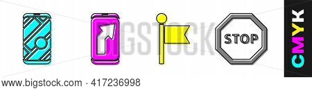 Set City Map Navigation, City Map Navigation, Location Marker And Stop Sign Icon. Vector