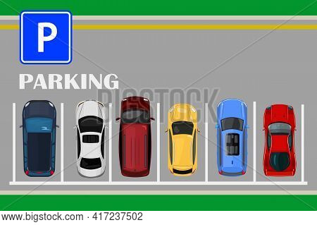 Top View Of A City Parking Lot With A Set Of Different Cars. Public Car Parking Zone. Urban Transpor