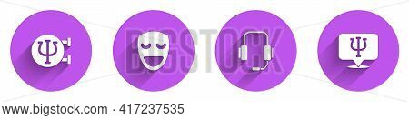 Set Psychology, Psi, Comedy Theatrical Mask, Psychologist Online And Icon With Long Shadow. Vector