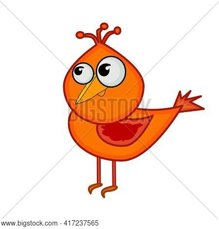 Cartoon Little Bird Isolated On White Background. Cute Small Red Bird. Design Element In Simple Flat