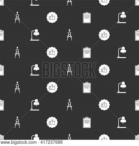 Set Clipboard With Checklist, Table Lamp, Drawing Compass And Hand Thumb Up On Seamless Pattern. Vec